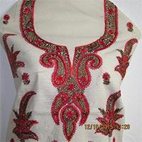 Cotton Kurti Piece With Silk Kashmiri Work