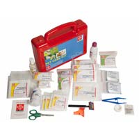 First Aid Pet Care Kit - Plastic Box  - Red - 67 Components..