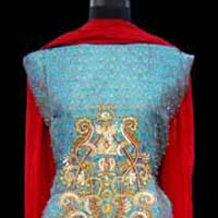 Blue Self Brocade Salwar Kameez
