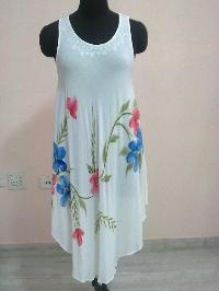 Soft Rayon Crepe Dress Hand Embroidery Brush Painting