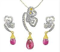 Tourmaline Diamond Pendant Set