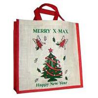 Jute Christmas Shopping Bag