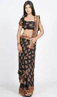 Black Saree with Triple Border