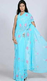 Blue Faux Georgette Saree with Rose Work