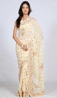 Cream Coloured Saree with Resham Work