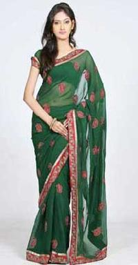 Green Saree with Red Border