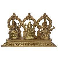 Laxmi Ganesha Saraswati Religious Brass Statue
