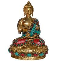 Lord Sitting Buddha With Stone Blessing Antique Idol Art..