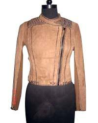 Ladies Chinese Collar Biker Leather Jacket