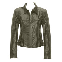 Ladies Grey Leather Jacket