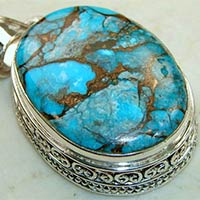 925 Sterling Silver Copper Turquoise Pendant
