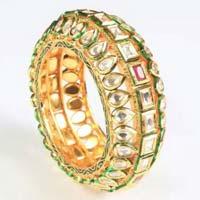 Gold Kundan Meena Bangle