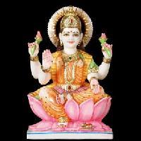 Lakshmi Statue Seated on Lotus Flower