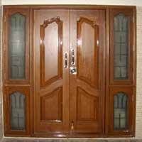 Teak wood doors manufacturers suppliers exporters in for Double door design catalogue