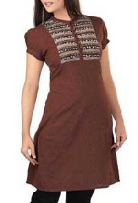 Brown Knee Length Kurta