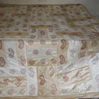 Designer Silk Bed Cover Enroided Cream Colour Bed Sheet