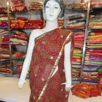 Party Wear Gilliter Work Chiffon  Mahroom Saree