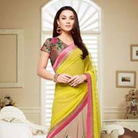 Catchy Lace Work Brown And Yellow Designer Saree