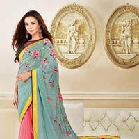Charming Pure Georgette Lace Work Designer Saree