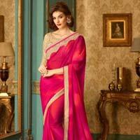 Orphic Hot Pink Patch Border Work Georgette Designer Saree