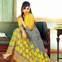 Peaceful Grey & Yellow Faux Georgette Designer Suit - Shree Exports