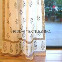 Block Print Curtain Fabric and Curtains