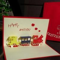 Birthday Train - Handmade 3d Pop Up Greeting Card