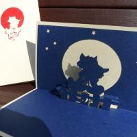 Cat and Moon - Handmade 3d Greeting Card