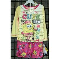 "Girls Sizes 4-8 ""sponge Bob"" Two Piece Polyester Knit Pajamas"