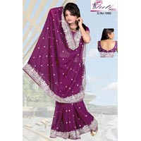 Silver Thread Work Saree