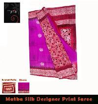 Matka Silk Block Printed Saree