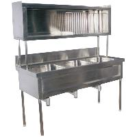 Tripple Sink Unit With Overhead Plate Rack