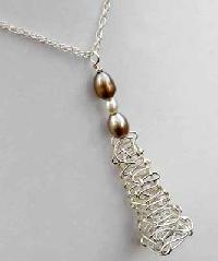 Pearl Gemstone Silver Necklace -02