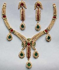 Stone Studded Necklace Set (Ruby & Pearl)