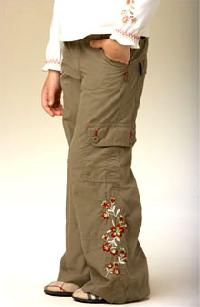 Pumpkin Patch Embroidered Cargo Pants