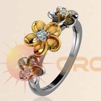 Designer Flower With Cz Studded Two Tone Plated Rings