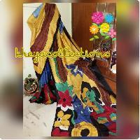 Hand paint on Bishnupur Silk Sari
