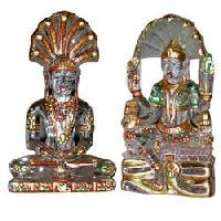 Semi Precious Stone Laxmi Narayan Statue