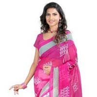 Chiffon Lace Work Cream Printed Saree