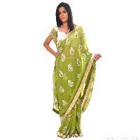 Green Georgette Sequin Embellished Saree