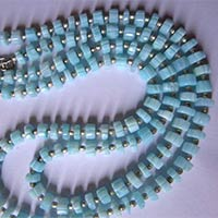 Blue Opal Carved Tyre Beads
