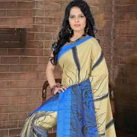 Black Color Printed Work Saree