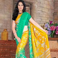 Green Color Print Work Saree