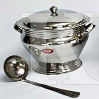 Soup Toureen Dish With Tubular Handle & Cover.