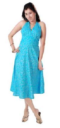 Cotton Hand Block Print Halter Dress