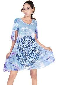 Cotton Hand Block Sleeve Dress