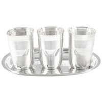 Gsm Silver Plated Square Glow Finish Glass Set With Oval..