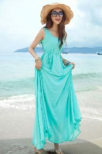 Blue Polyester Women Beach Wear Dress