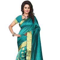Designer linen silk saree with zari work