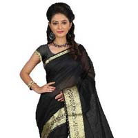 Designer Slik black Saree with Zari work